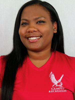 Headshot of Aniya Campbell wearing a red Campus Recreation t-shirt.