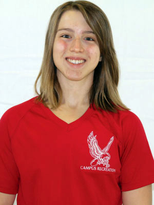 Headshot of Amanda Wood wearing a red Campus Recreation t-shirt.