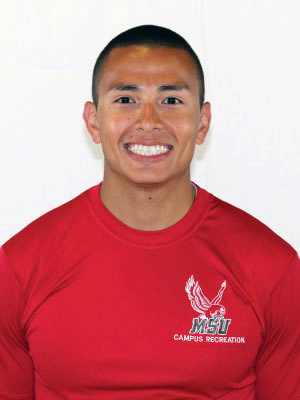 Headshot of Luis Torres wearing a red Campus Recreation t-shirt.