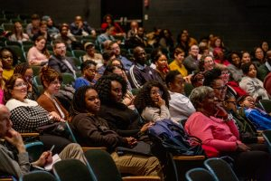 Photo of crowd from CUE Speaks event with Dr. Bettina Love
