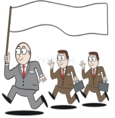 Leader cartoon - three guys following each other