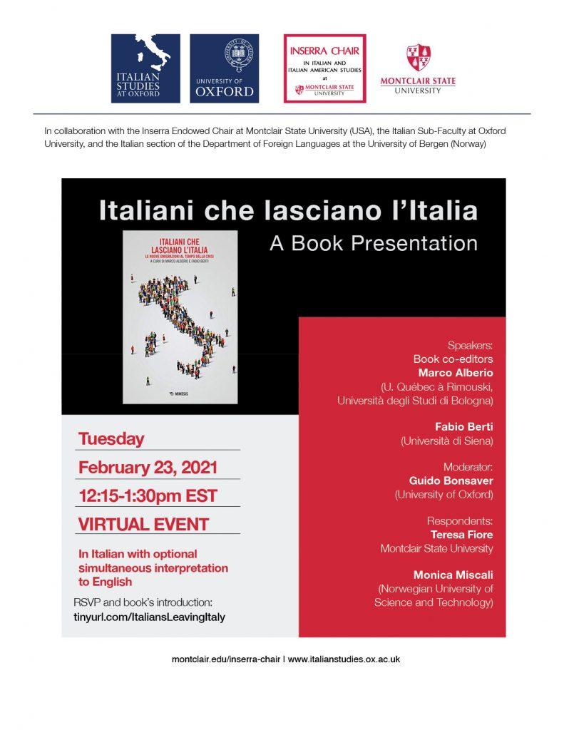 Flyer for Italiani che lasciano I'Italia