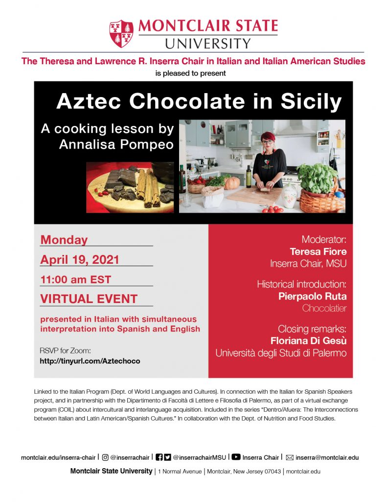 Flyer for Aztec Chocolate in Sicily