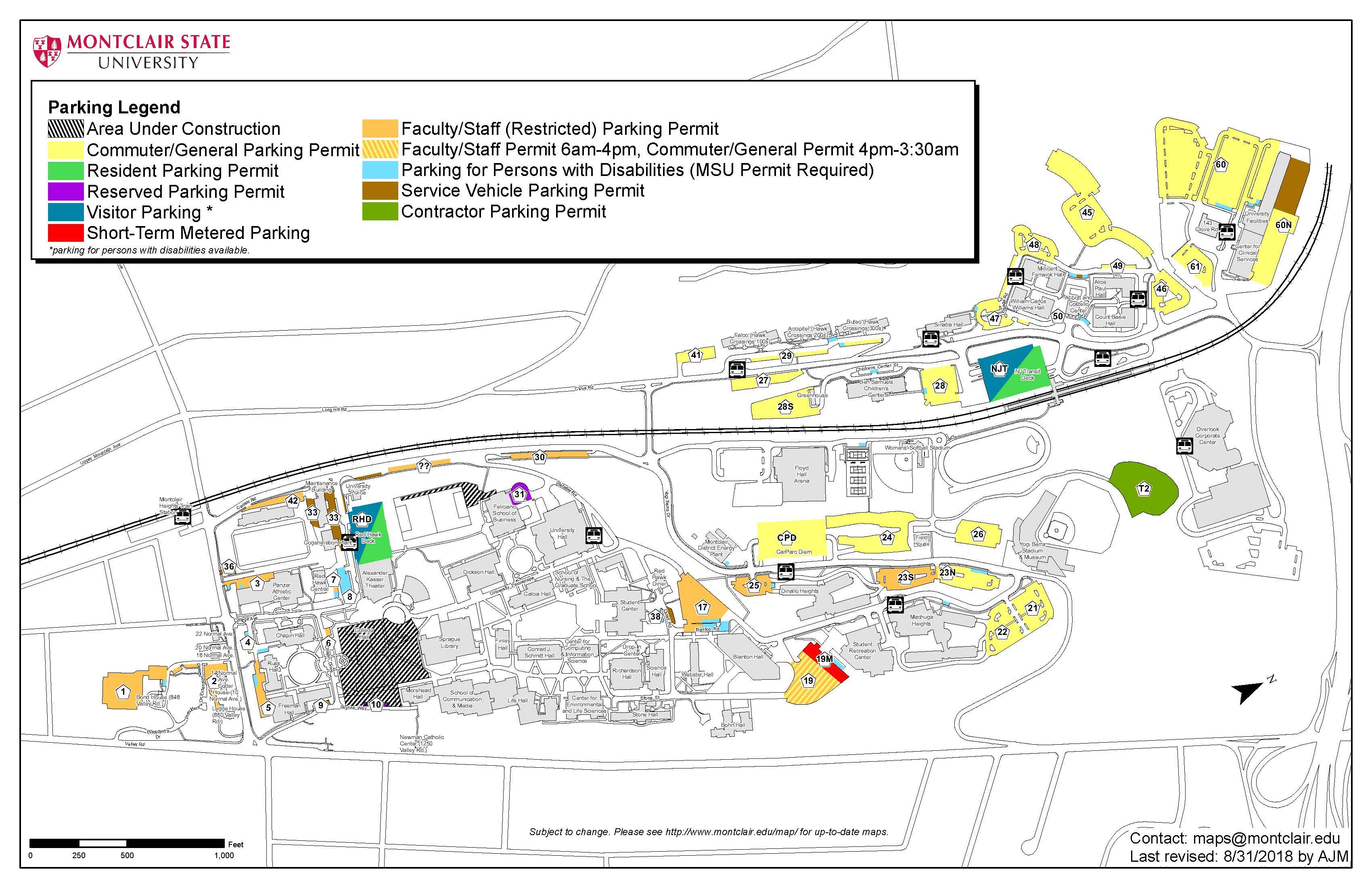 Montclair State University Campus Map Parking And Shuttles – Commuter Life   Montclair State University