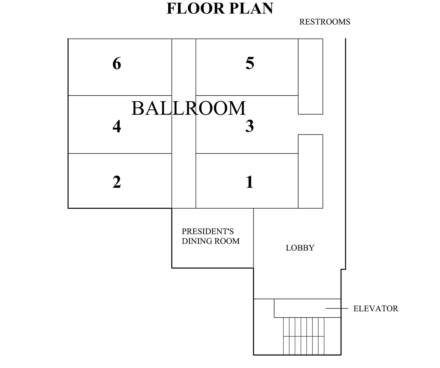 The Conference Center's Main Ballroom showing all the different configuration options available. Please refer to the Capacity Charts for more information.