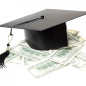 Photo of stock image grad cap and money.