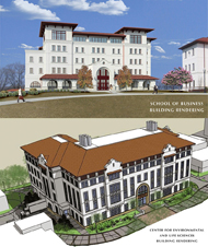 Photo of CELS and SBUS building renderings.