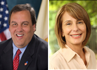 Photo of Gov. Chris Christie and Sen. Barbara Buono.