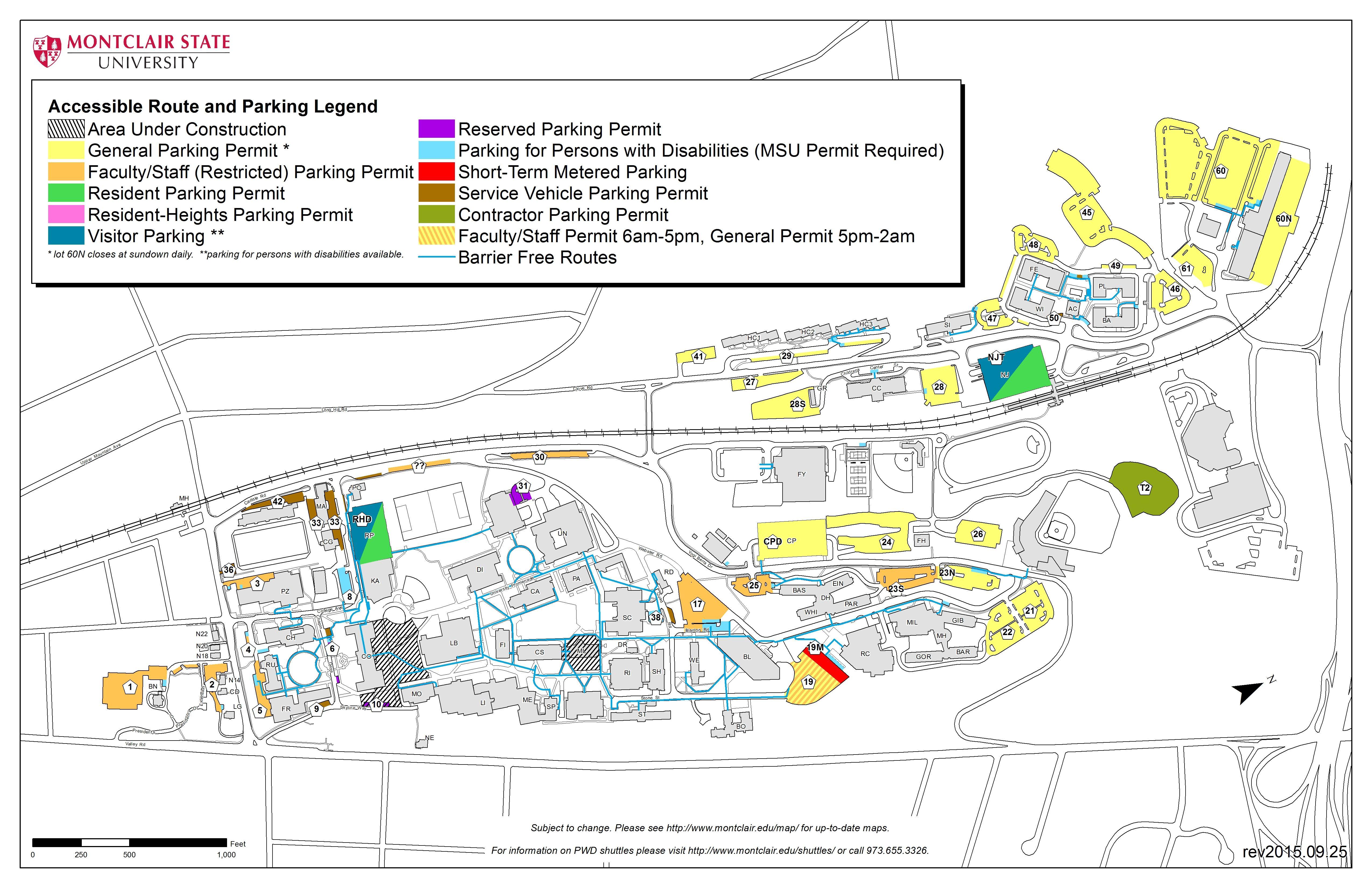 Montclair State University Campus Map Campus Access & Maps – University Facilities   Montclair State