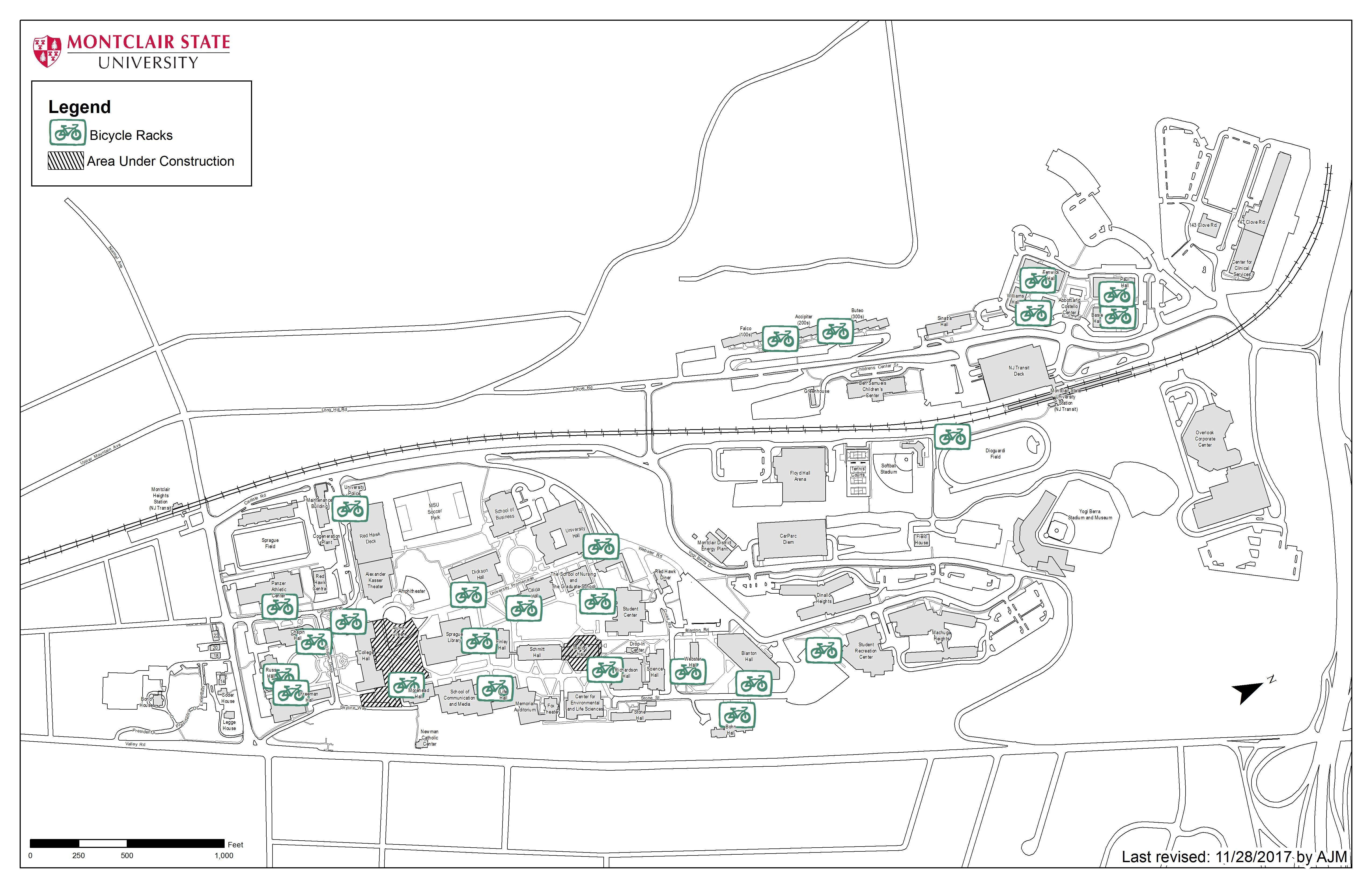 Montclair State Campus Map Campus Access & Maps – University Facilities   Montclair State
