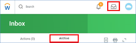 archive tab in inbox highlighted