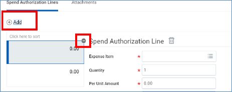 minus button on spend authorization