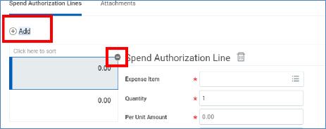 minus button on spend authorization
