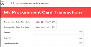 my procurement card transactions search