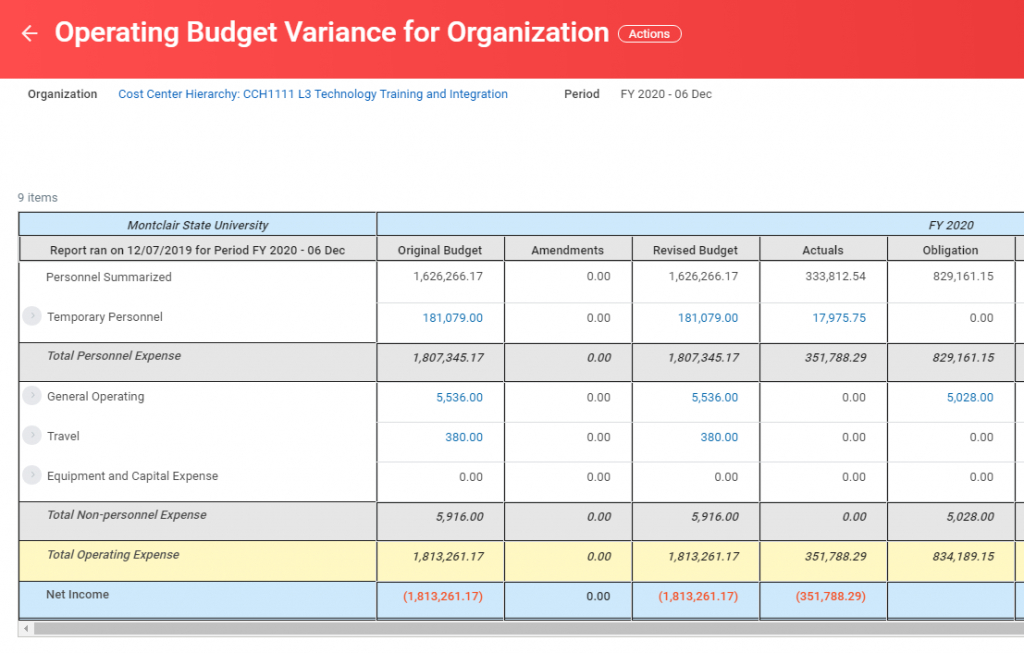 operating budget variance for organization summary