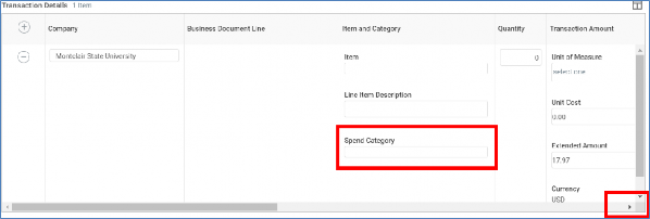 spend category in transaction details
