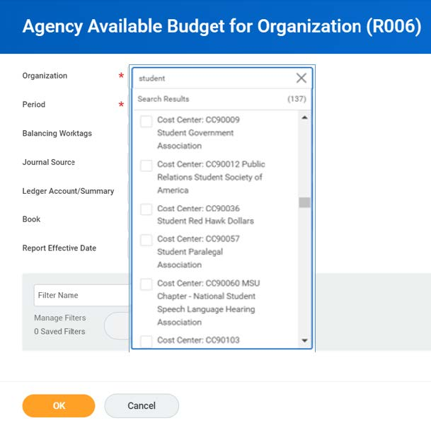 organization and period required fields
