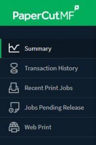 Print account menu