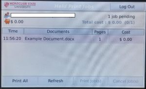 Print release device displays a list of print jobs