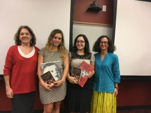 Jury member Patti Grunther, contest winners Allie Aloe and Stephanie Rodriguez, and Inserra Chair Dr. Teresa Fiore‌‌