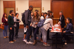Students signing in to an event
