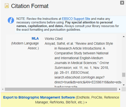 find articles citation option displayed (with MLA style selected)