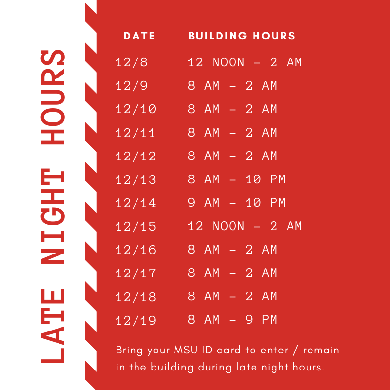 Schedule of Late Night Hours