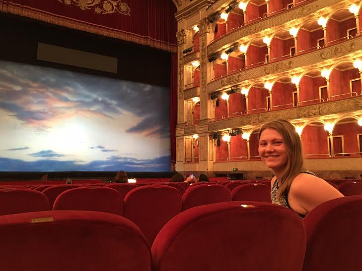 Angelene Agresta at a Florence, Italy, opera house where she worked on surtitles