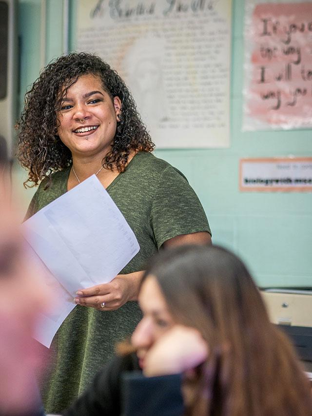 Adriana Calderon teaching class.