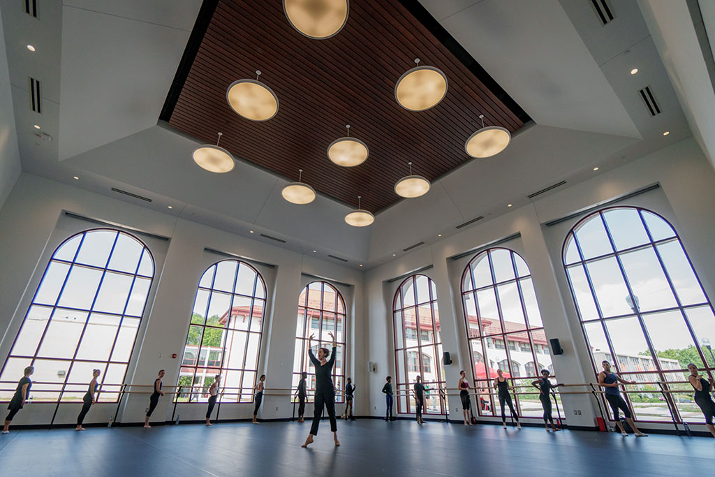 Dance studio in Montclair State University with students dancing.