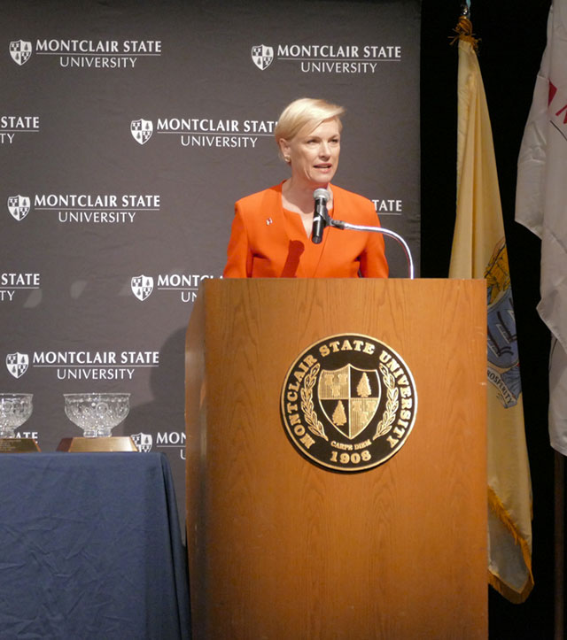 Photo of Planned Parenthood President Cecile Richards speaking at podium.