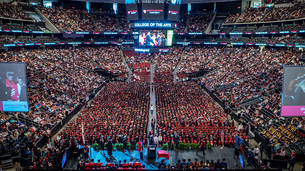 Aerial shot of commencement at Prudential Center.