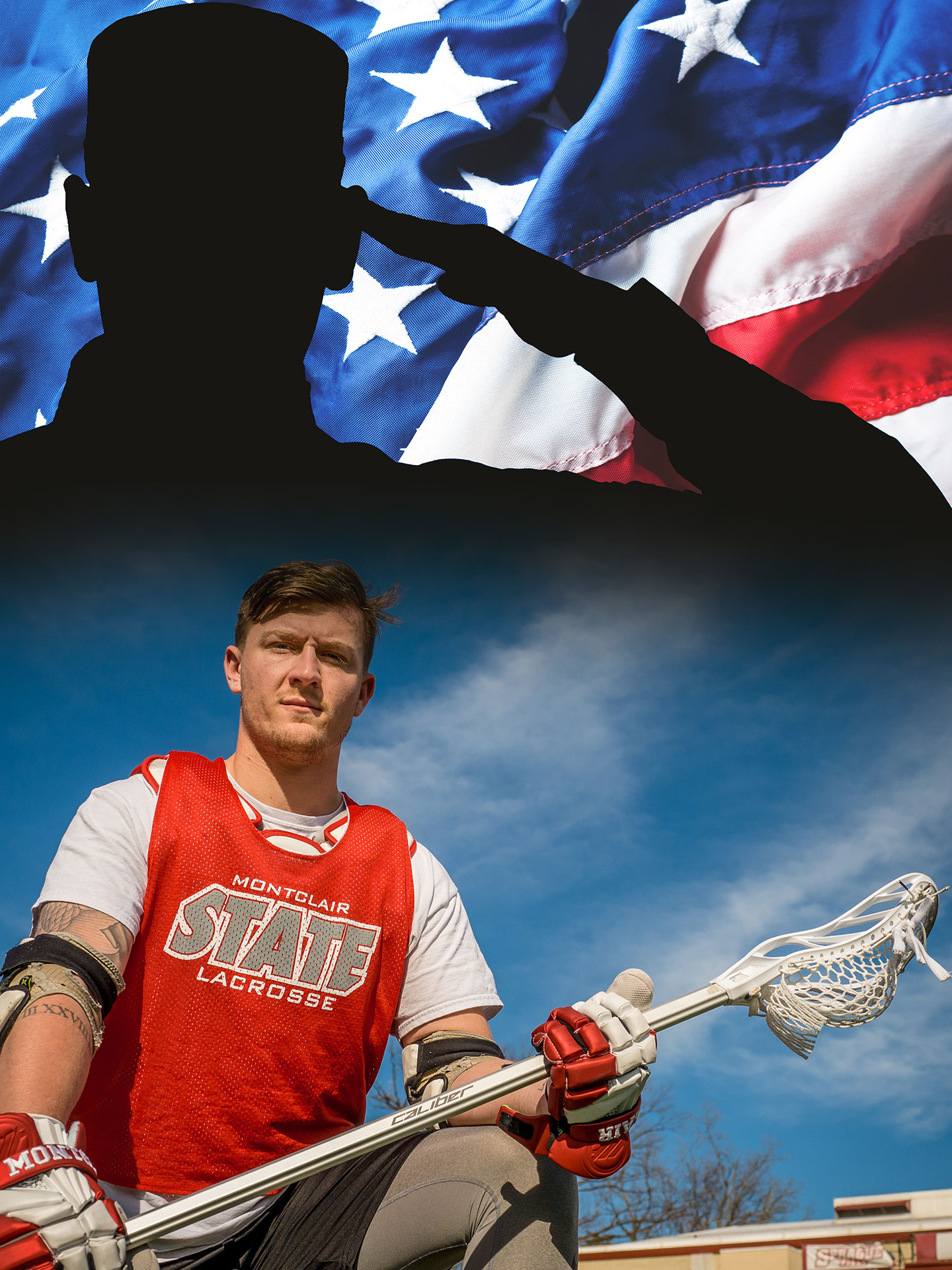 Max Frankovitz clad in lacrosse gear with background image of silhouette of soldier and American flag.