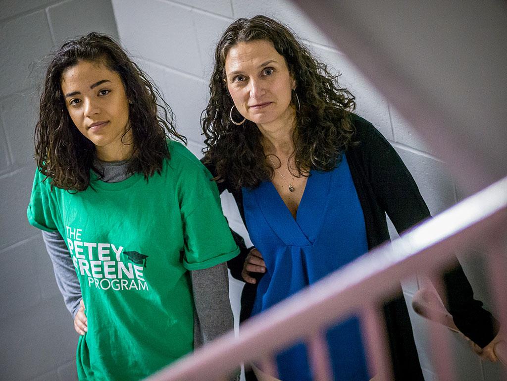 Justice Studies Professor Jessica Henry with student volunteer Gabriela Suriel.