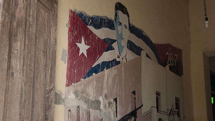 Photo of Cuban mural inside home.