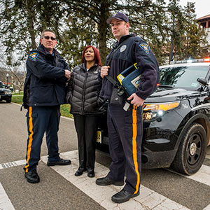 Photo of Officer Jeff Struble, Dispatcher Sylvia Sims and Officer Andrew Burde.