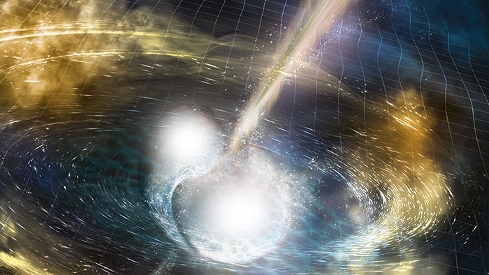 An illustration of neutron stars colliding.