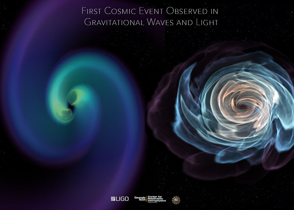 An illustration of the first cosmic event observed in gravitational waves and light.