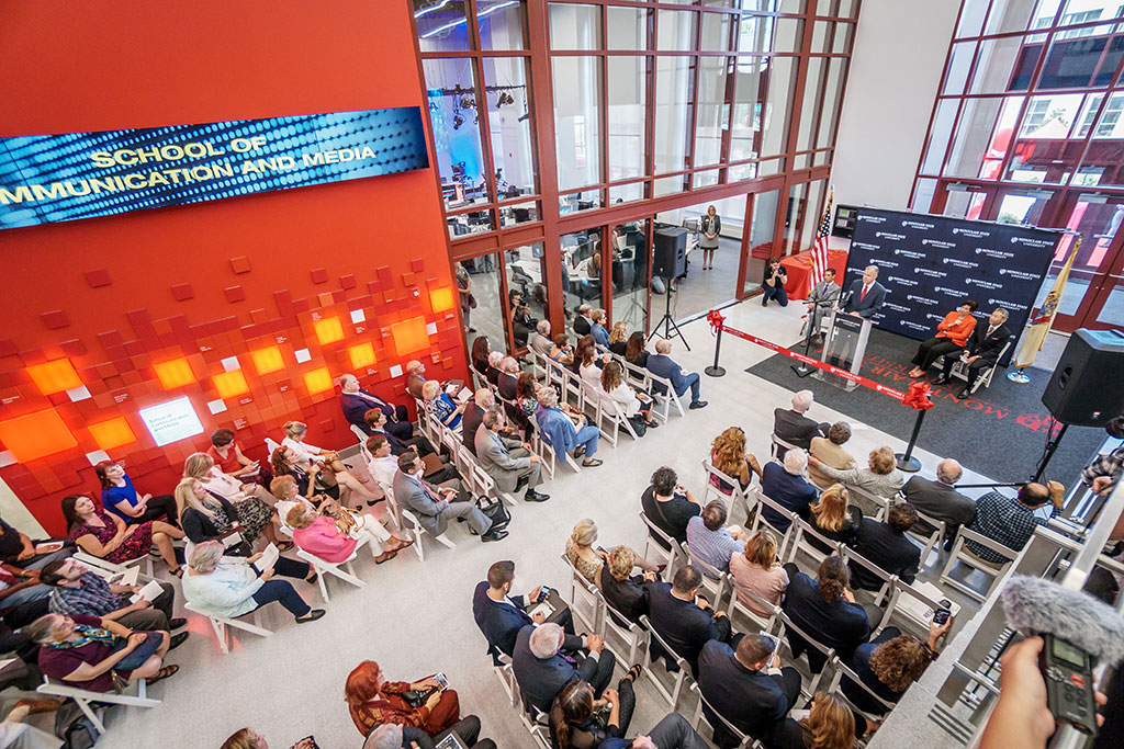 Dean Daniel Gurskis speaks at the opening of the School of Communication and Media's new building in September.