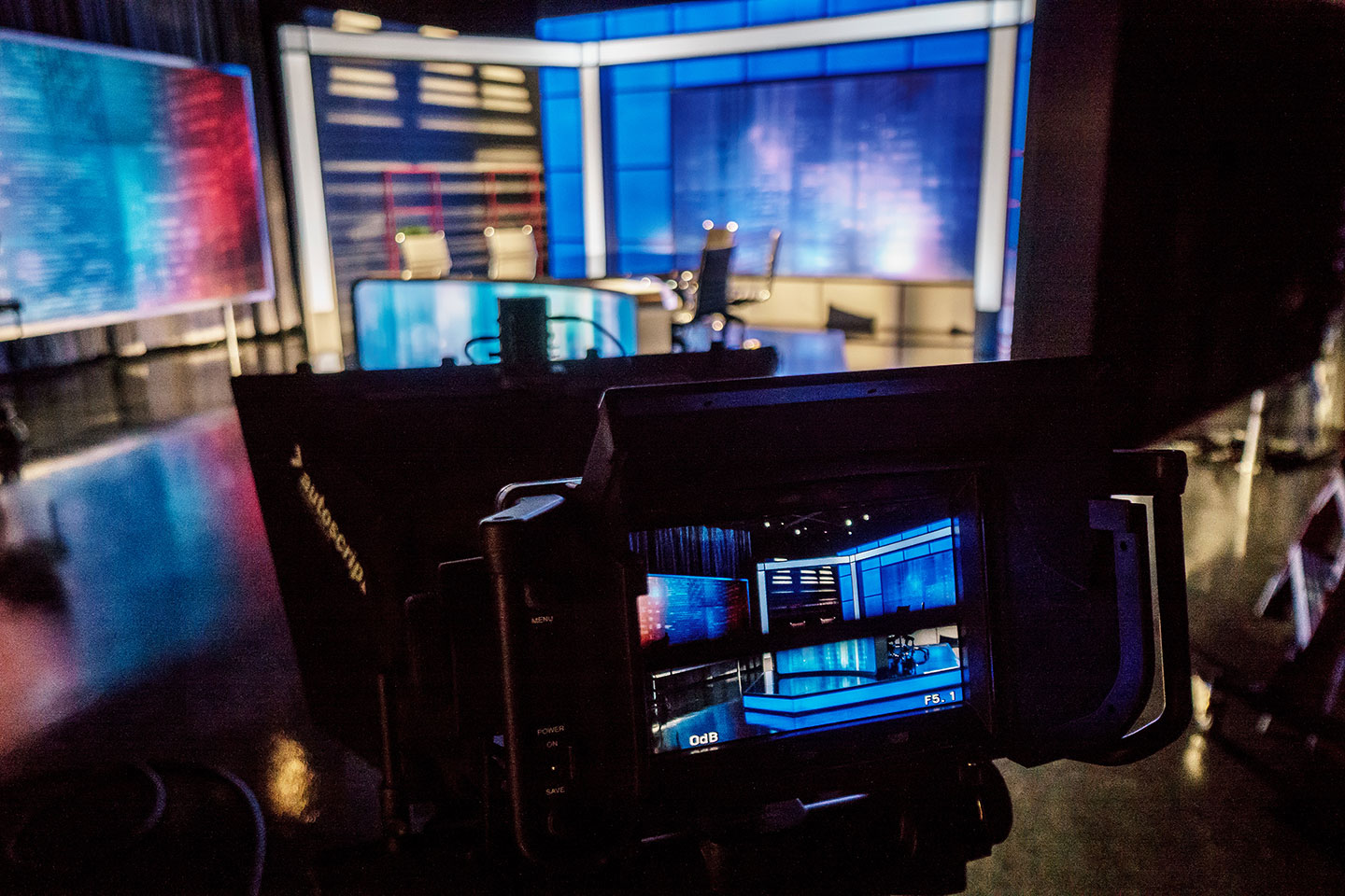 Inside the School of Communication and Media's news studio.