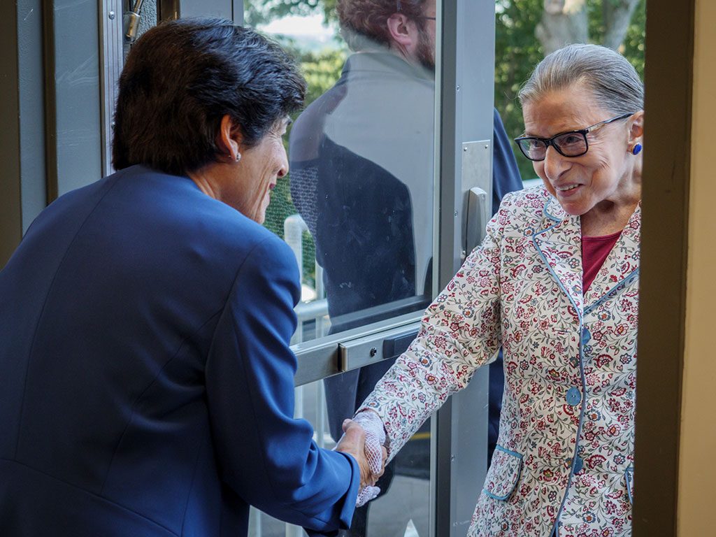 President Susan A. Cole welcomes Justice Ruth Bader Ginsburg to the University.