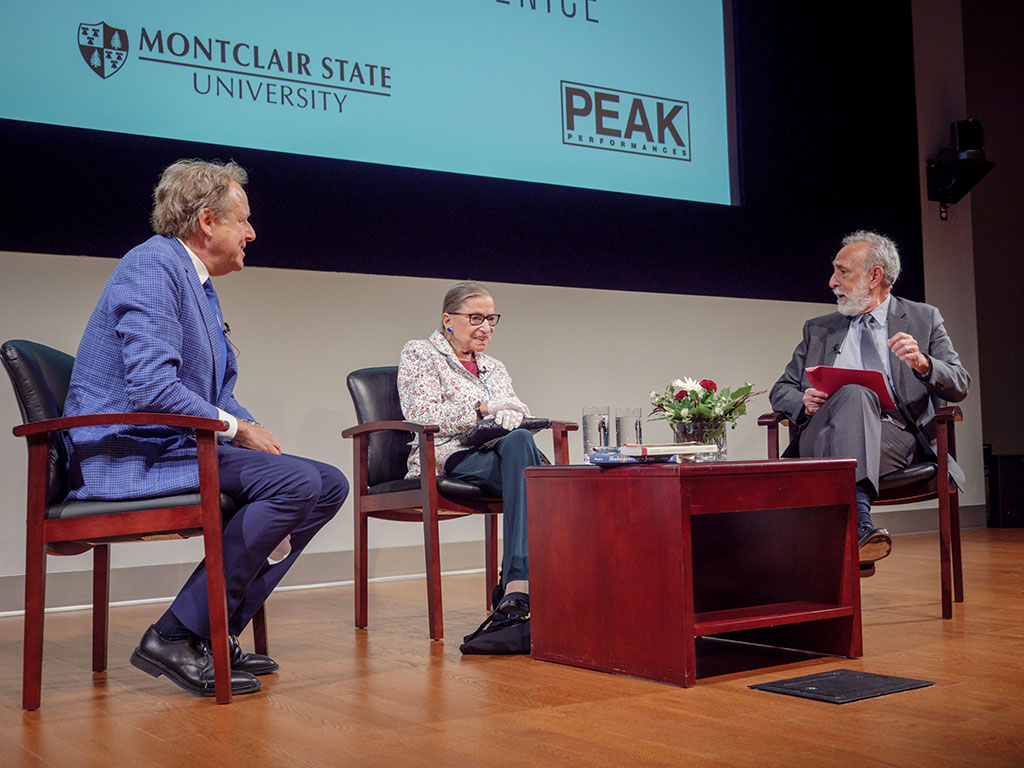 Columbia University Professor James Shapiro, Supreme Court Justice Ruth Bader Ginsburg and Yale University Professor David Scott Kastan speaking at a panel.