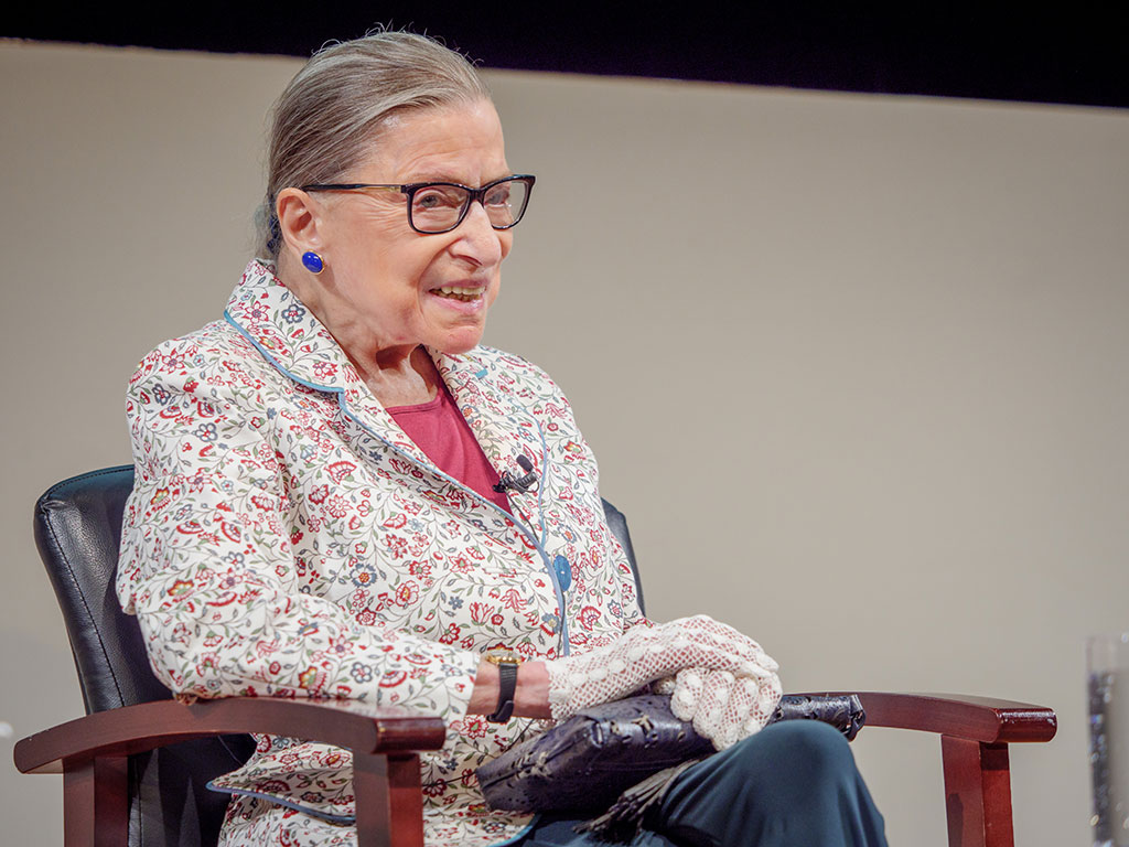 Ruth Bader Ginsburg spending day on campus.