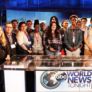 18 high-performing students from 11 New Jersey high schools from the annual Summer Journalism Workshop at ABC News studio.