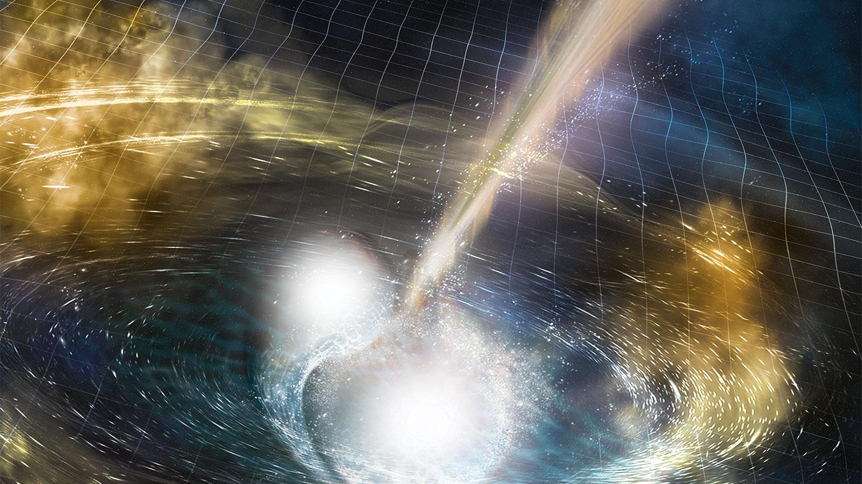 An illustration of neutron stars colliding.
