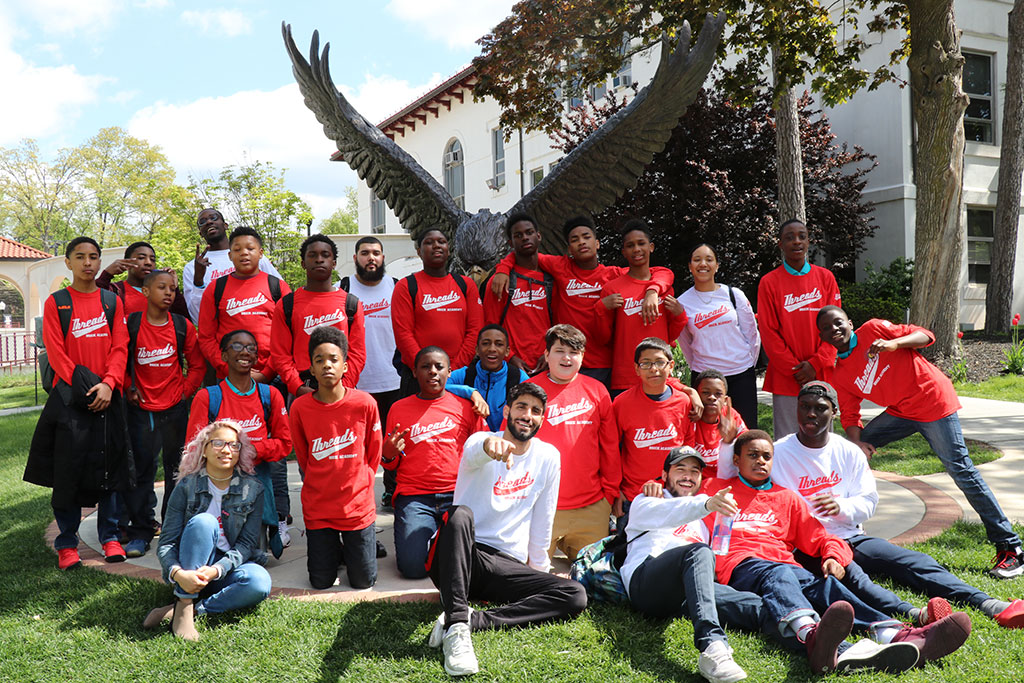 THREADS mentors and mentees at Montclair State University's campus.