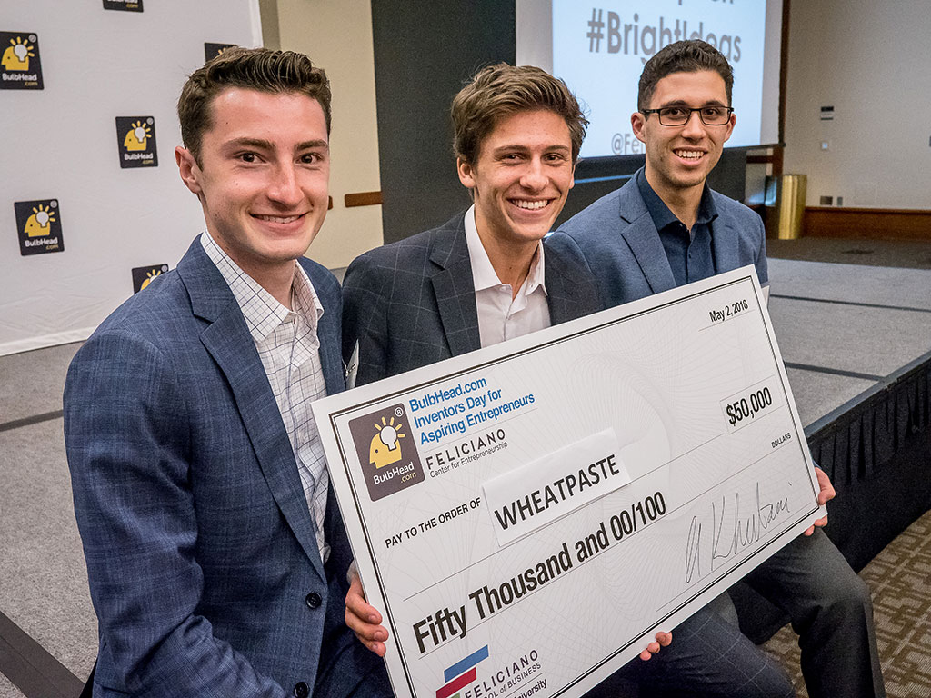 Montclair State students, from left, George Garcia, Jacob Gilbert and Matthew Szot, win $50,000 to develop a digital platform for community and small business engagement.