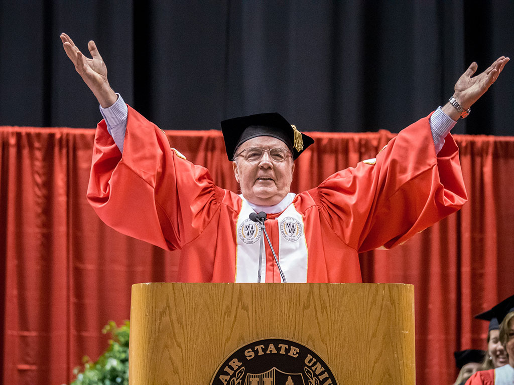 The author James Patterson, at 2014 graduation ceremony