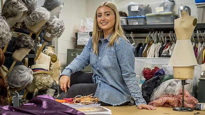 Cheyenne Pellicoro interned with the costume design team of Hamilton; Abigail Martin works backstage on Girl from the North Country at the Public Theater in New York City.