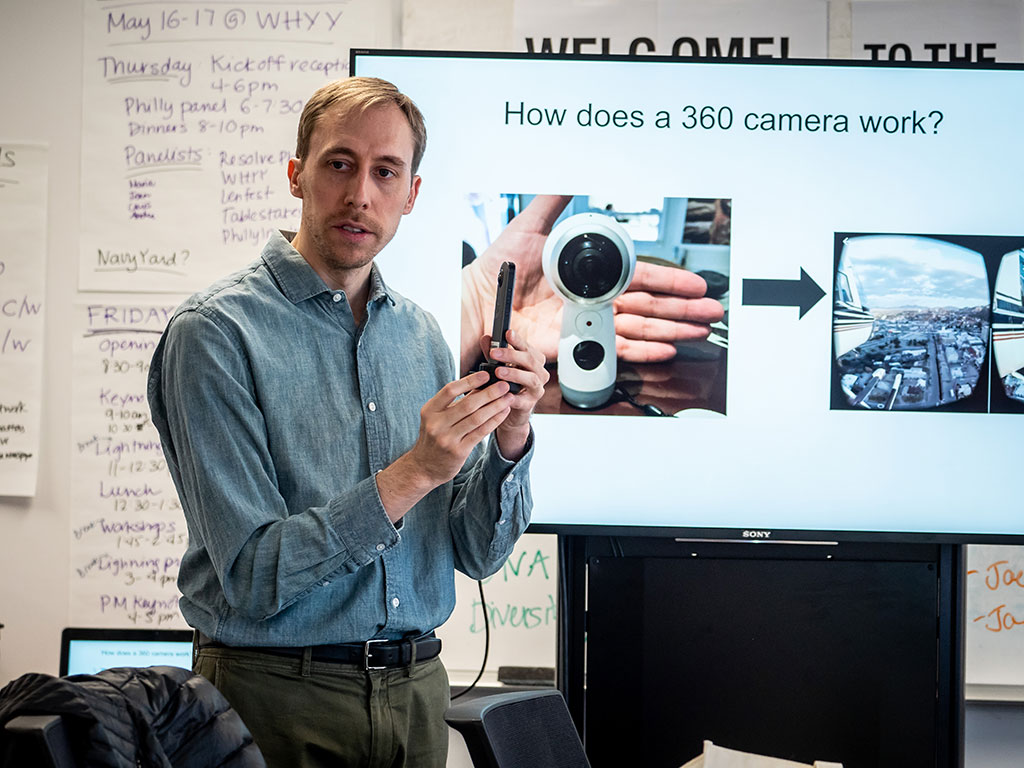 The Center regularly brings in journalists for training; shown is Matthew MacVey leading a class on creating first-person visual stories with 360 photo and video.